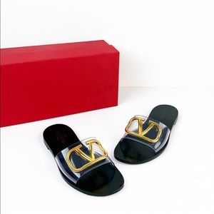 Valentino Clear Slide Sandal W/ VLogo Detail 5MM